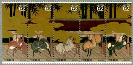 馬と文化シリーズ厩図屏風5連