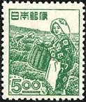 産業図案切手・茶摘み5円