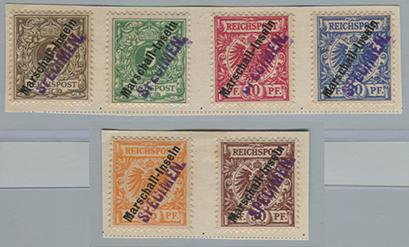 マリアナ諸島 1900年ドイツ切手加刷6種・specimen