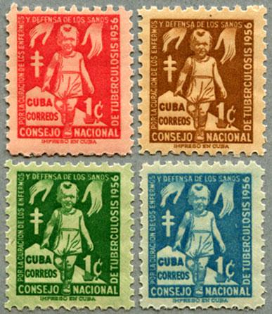 キューバ1956年複十字4種