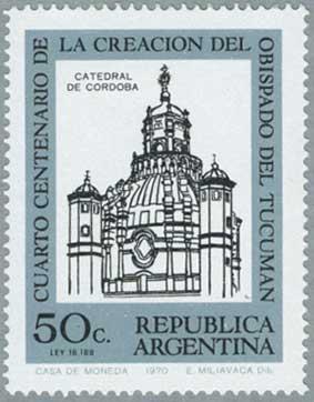 アルゼンチン1970年コルドバのカテドラル※少シミ