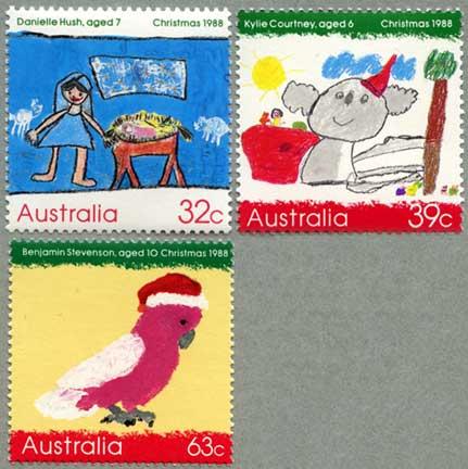オーストラリア1988年児童画クリスマス3種
