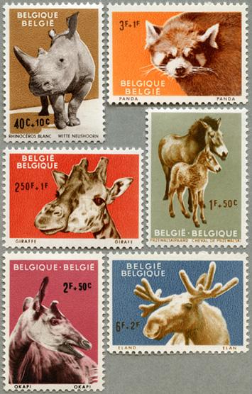 ベルギー1961年動物6種