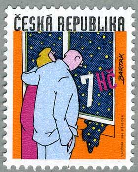 チェコ共和国1999年窓枠から流れ込む夜景