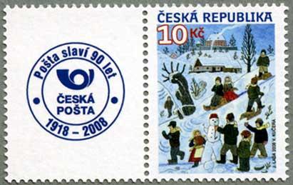 チェコ共和国2008年クリスマス 雪遊びタブ付き