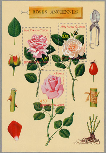 19世紀のバラ小型シート