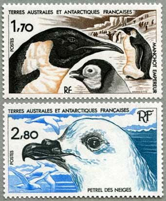仏領南方南極地方1985年皇帝ペンギンなど2種