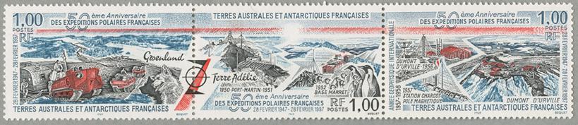 フランスの南極遠征50年3種連刷