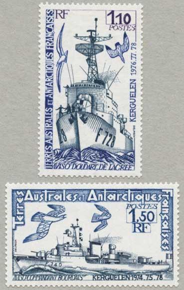 仏領南方南極地方1979年護衛艦Commantante Bourdaisなど2種