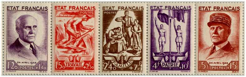 フランス1943年 ペタン元帥5種連刷