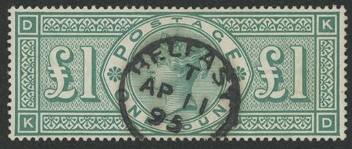 イギリス 1891年ビクトリア女王£1 使用済