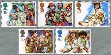 イギリス1994年クリスマス切手5種「子供劇」