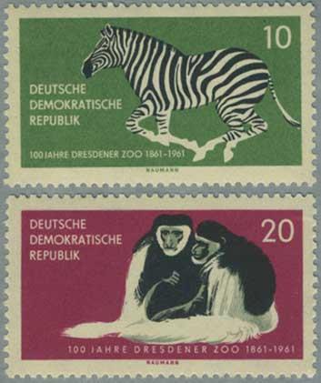 東ドイツ1961年シマウマなど2種