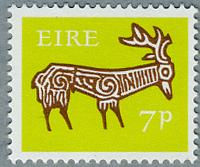 アイルランド1968年古代土器の牡鹿の文様(A)
