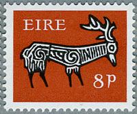 アイルランド1968年古代土器の牡鹿の文様(B)