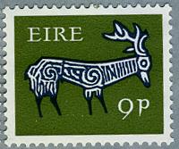 アイルランド1968年古代土器の牡鹿の文様(C)