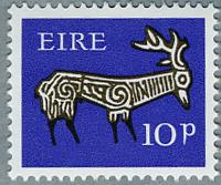 アイルランド1968年古代土器の牡鹿の文様(d)