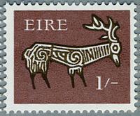 アイルランド1968年古代土器の牡鹿の文様(e)