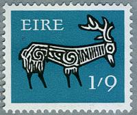 アイルランド1968年古代土器の牡鹿の文様(f)