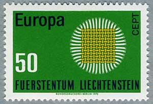 リヒテンシュタイン1970年ヨーロッパ切手組み糸