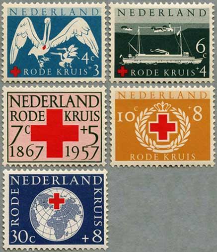 オランダ1957年赤十字90年5種