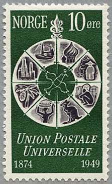 ノルウェー1949年UPU75年