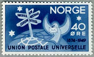 ノルウェー1949年UPU75年道しるべとハト