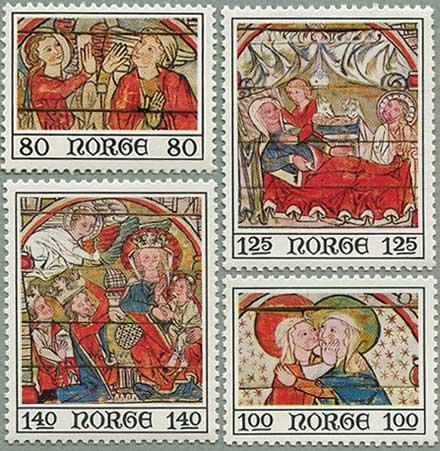 ノルウェー1975年13世紀の教会の宗教画4種