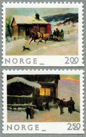 ノルウェー1983年クリスマスの風景2種
