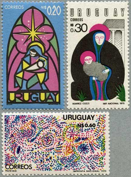 ウルグアイ1975年クリスマス3種