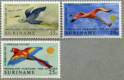 スリナム1971年飛行する鳥3種