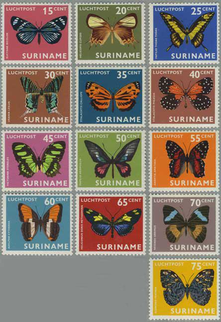スリナム 1972年蝶13種