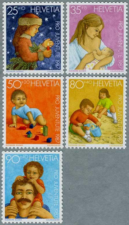 スイス1987年クリスマスの少女(25+10c)など5種