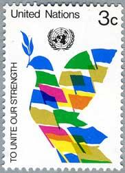国連1976年旗でデザインされたハト