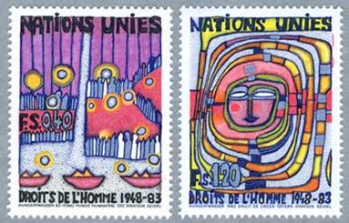 国連ジュネーブ 1983年フンデルトヴァッサー画 世界人権宣言35年2種