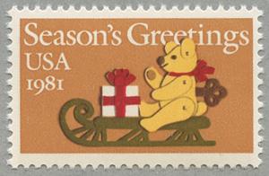 アメリカ1981年クリスマスクマとソリ