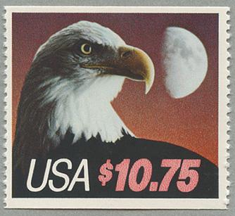 アメリカ1985年月とワシ額面10.75ドル(切手帳単片)