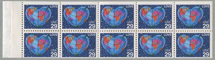 愛の切手ハートの地球切手帳ペーン