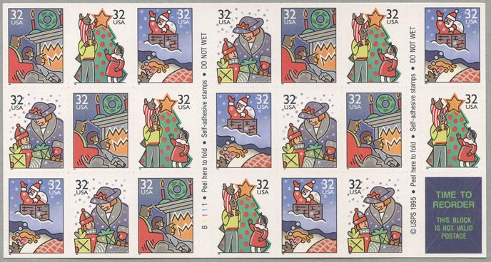 クリスマス 家族の情景切手帳ペーン