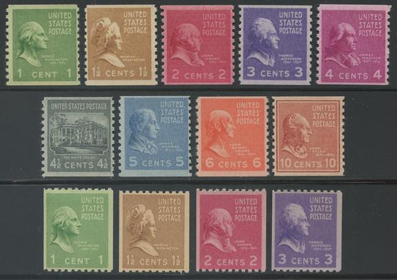 アメリカ 大統領シリーズ(1938年シリーズ)コイル13種揃い(No.2)