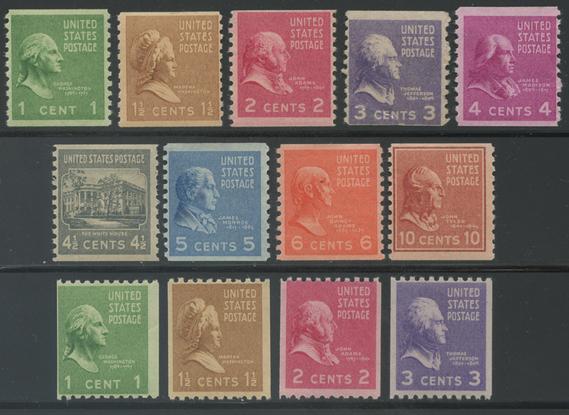 アメリカ 大統領シリーズ(1938年シリーズ)コイル13種揃い(No.3)