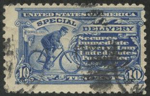 特別配達切手 自転車の配達員(目打10・すかしなし)※使用済み
