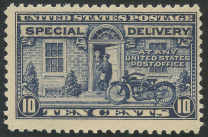 特別配達切手 オートバイの配達10c 紺(目打11)