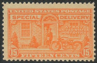 特別配達切手 オートバイの配達15c(目打11)