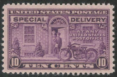 特別配達切手 オートバイの配達10c(目打11x10.5)