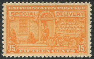 特別配達切手 オートバイの配達15c(目打11x10.5)