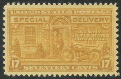 特別配達切手 オートバイの配達17c